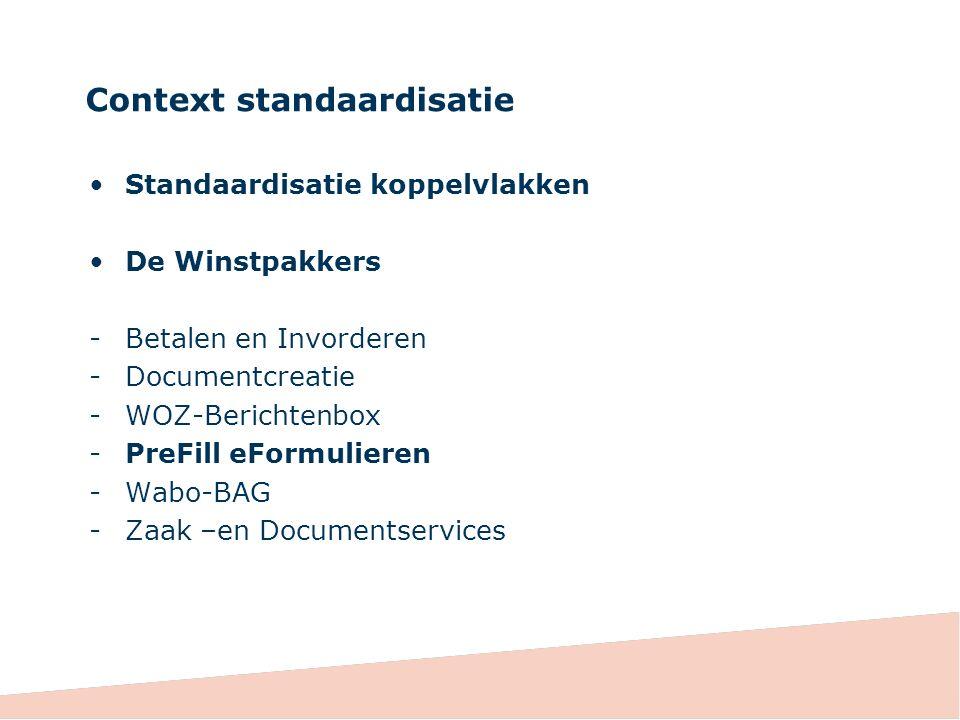 Context standaardisatie Standaardisatie koppelvlakken De Winstpakkers -Betalen en Invorderen -Documentcreatie -WOZ-Berichtenbox -PreFill eFormulieren -Wabo-BAG -Zaak –en Documentservices