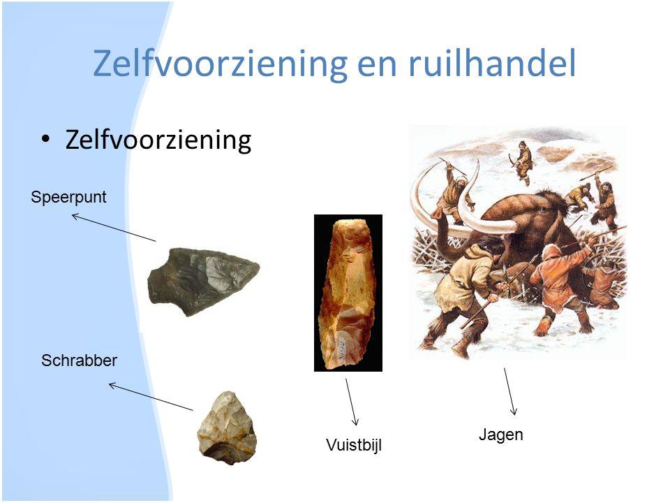 Zelfvoorziening en ruilhandel Zelfvoorziening Speerpunt Schrabber Vuistbijl Jagen