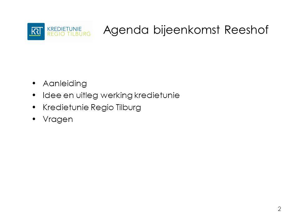 Agenda bijeenkomst Reeshof 2 Aanleiding Idee en uitleg werking kredietunie Kredietunie Regio Tilburg Vragen