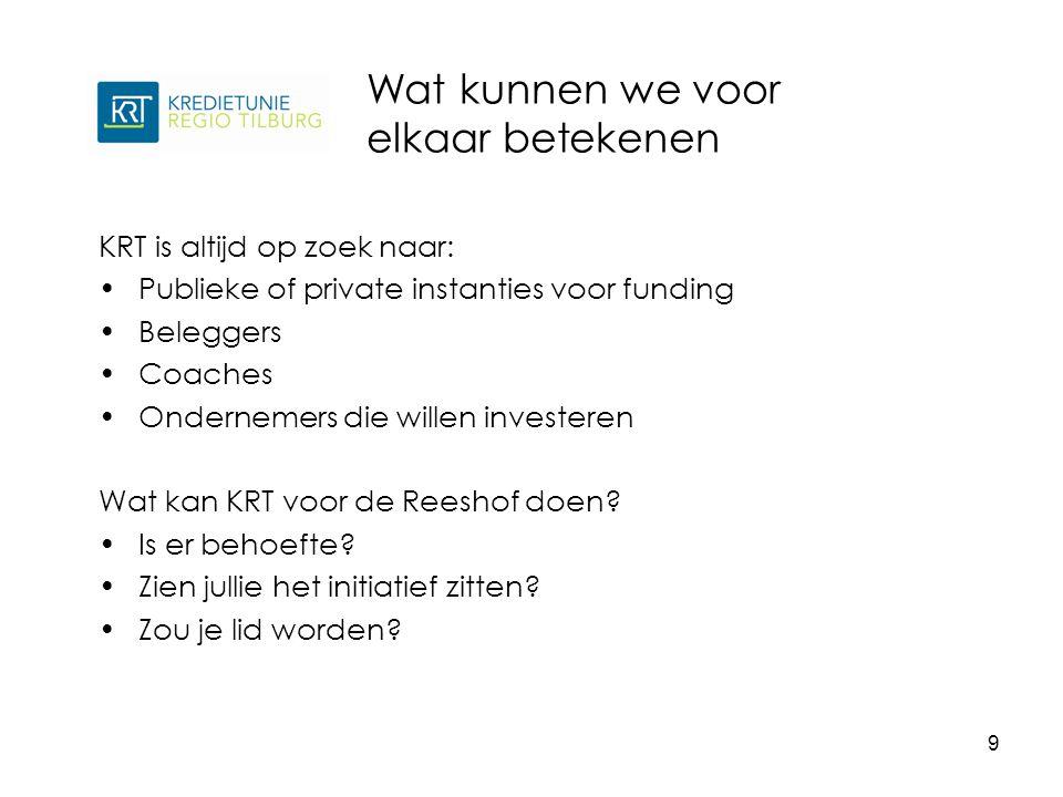 KRT is altijd op zoek naar: Publieke of private instanties voor funding Beleggers Coaches Ondernemers die willen investeren Wat kan KRT voor de Reeshof doen.