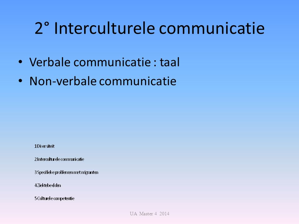 2° Interculturele communicatie Verbale communicatie : taal Non-verbale communicatie UA Master 4 2014