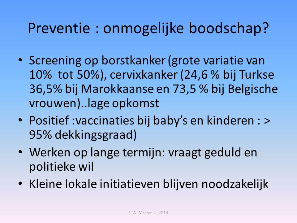Preventie : onmogelijke boodschap? Screening op borstkanker (grote variatie van 10% tot 50%), cervixkanker (24,6 % bij Turkse 36,5% bij Marokkaanse en