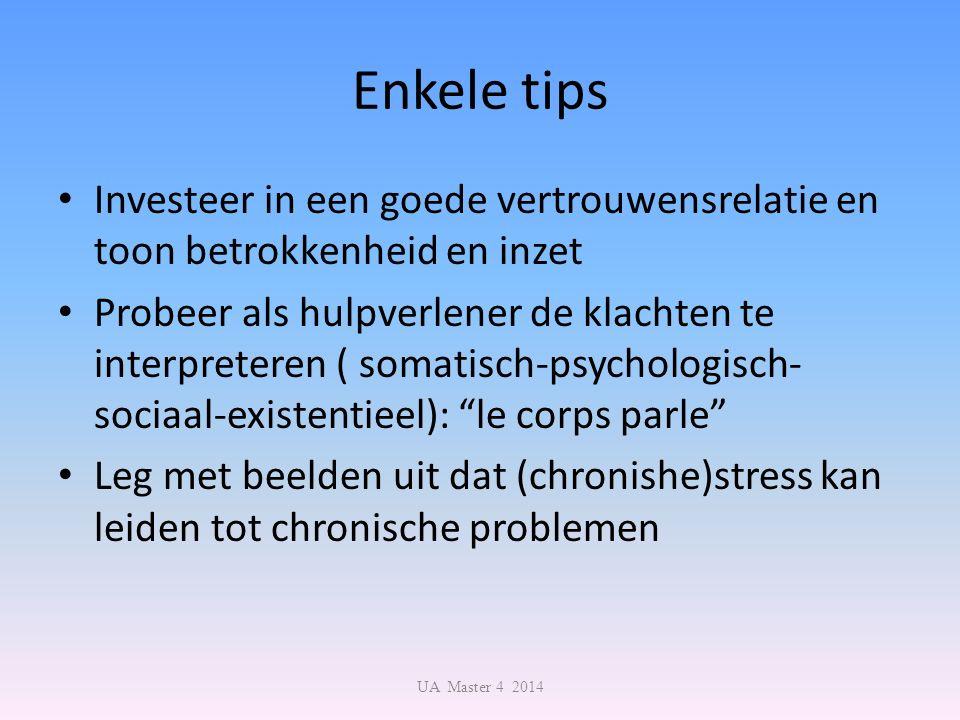 Enkele tips Investeer in een goede vertrouwensrelatie en toon betrokkenheid en inzet Probeer als hulpverlener de klachten te interpreteren ( somatisch