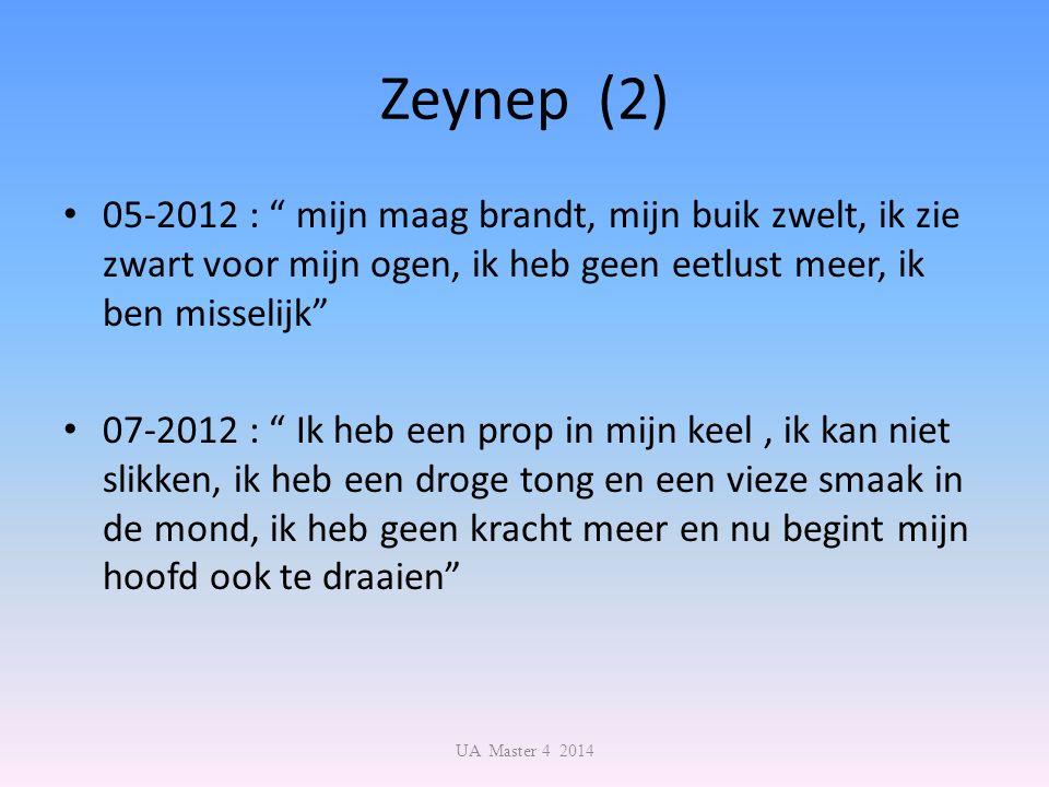 Zeynep (2) 05-2012 : mijn maag brandt, mijn buik zwelt, ik zie zwart voor mijn ogen, ik heb geen eetlust meer, ik ben misselijk 07-2012 : Ik heb een prop in mijn keel, ik kan niet slikken, ik heb een droge tong en een vieze smaak in de mond, ik heb geen kracht meer en nu begint mijn hoofd ook te draaien UA Master 4 2014