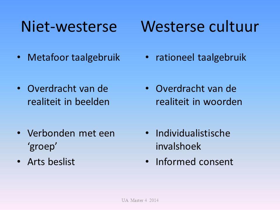 Niet-westerse Westerse cultuur Metafoor taalgebruik Overdracht van de realiteit in beelden Verbonden met een 'groep' Arts beslist rationeel taalgebrui