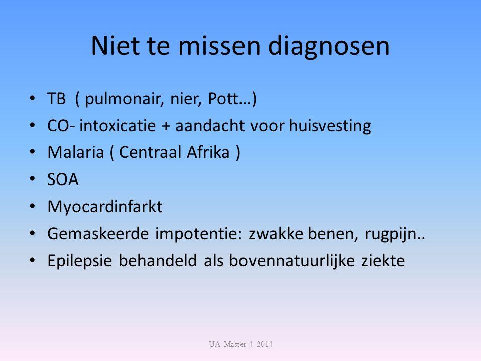 Niet te missen diagnosen TB ( pulmonair, nier, Pott…) CO- intoxicatie + aandacht voor huisvesting Malaria ( Centraal Afrika ) SOA Myocardinfarkt Gemaskeerde impotentie: zwakke benen, rugpijn..