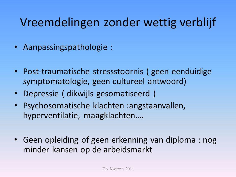 Vreemdelingen zonder wettig verblijf Aanpassingspathologie : Post-traumatische stressstoornis ( geen eenduidige symptomatologie, geen cultureel antwoo