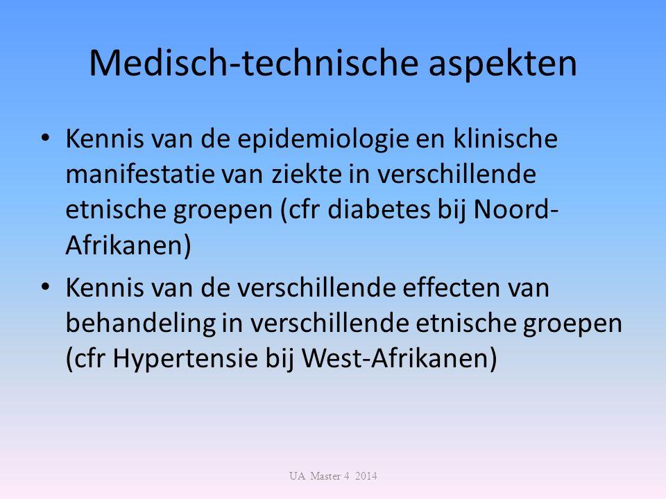 Medisch-technische aspekten Kennis van de epidemiologie en klinische manifestatie van ziekte in verschillende etnische groepen (cfr diabetes bij Noord- Afrikanen) Kennis van de verschillende effecten van behandeling in verschillende etnische groepen (cfr Hypertensie bij West-Afrikanen) UA Master 4 2014