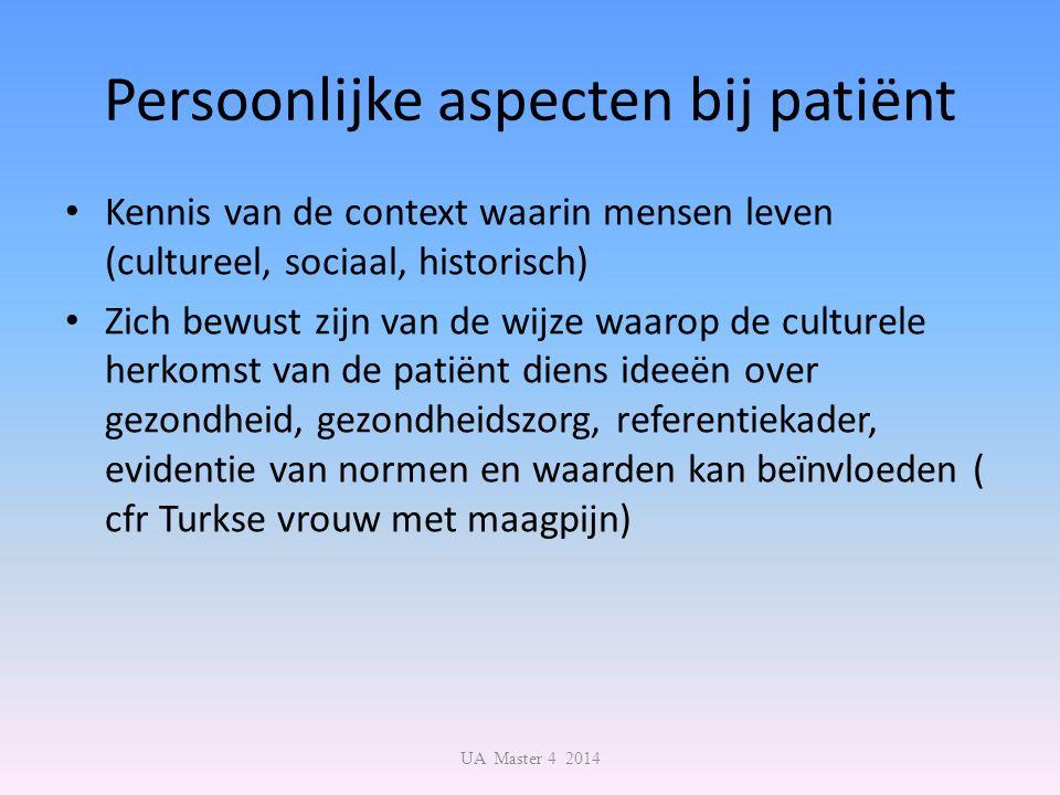 Persoonlijke aspecten bij patiënt Kennis van de context waarin mensen leven (cultureel, sociaal, historisch) Zich bewust zijn van de wijze waarop de c