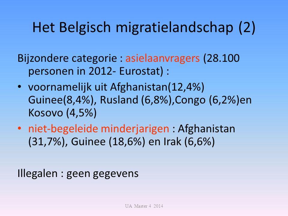 Het Belgisch migratielandschap (2) Bijzondere categorie : asielaanvragers (28.100 personen in 2012- Eurostat) : voornamelijk uit Afghanistan(12,4%) Gu