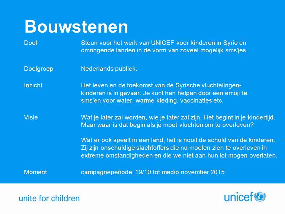 Campagneboodschap Activatie: SMS een emoji of UNICEF naar 4333 en doneer 3 euro voor een kind in nood.