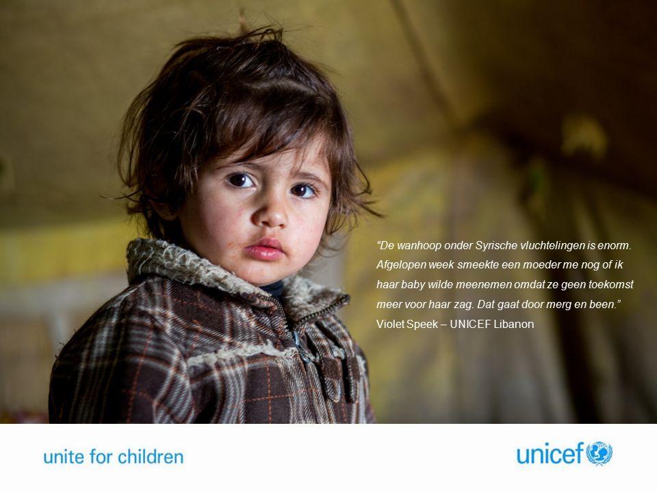5,6 miljoen kinderen in nood 7,6 miljoen intern ontheemden 4 miljoen vluchtelingen in buurlanden De Syrische crisis in cijfers 2 miljoen kinderen niet op school 1 op 4 scholen verwoest of in gebruik als schuilplaats 1 op 3 ziekenhuizen functioneel