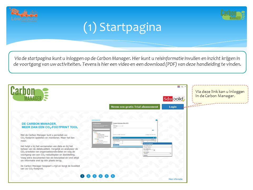 (1) Startpagina Via deze link kan u inloggen in de Carbon Manager. Via de startpagina kunt u inloggen op de Carbon Manager. Hier kunt u reisinformatie
