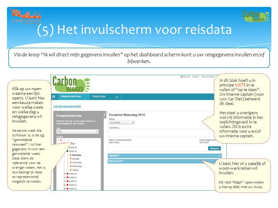 """(5) Het invulscherm voor reisdata Via de knop """"Ik wil direct mijn gegevens invullen"""" op het dashboard scherm kunt u uw reisgegevens invullen en/of bij"""