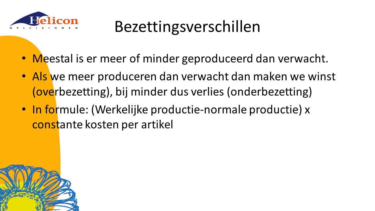 Bezettingsverschillen Meestal is er meer of minder geproduceerd dan verwacht. Als we meer produceren dan verwacht dan maken we winst (overbezetting),