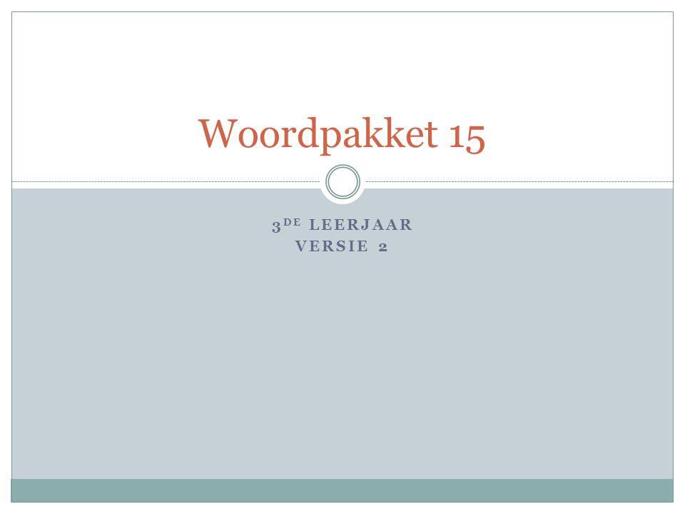 3 DE LEERJAAR VERSIE 2 Woordpakket 15