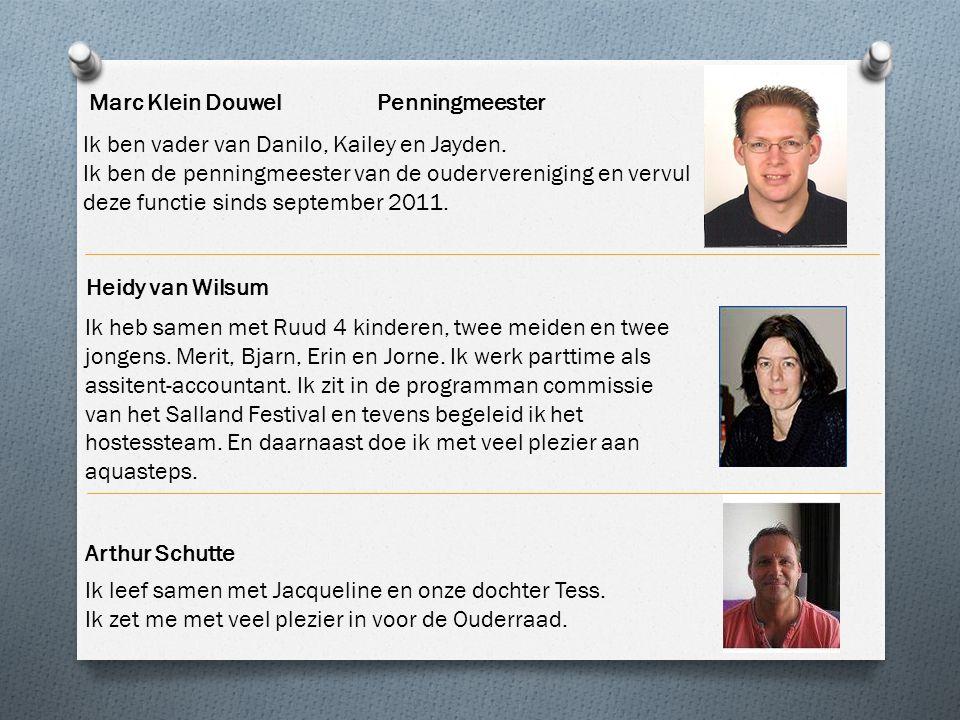 Marc Klein Douwel Penningmeester Ik ben vader van Danilo, Kailey en Jayden. Ik ben de penningmeester van de oudervereniging en vervul deze functie sin