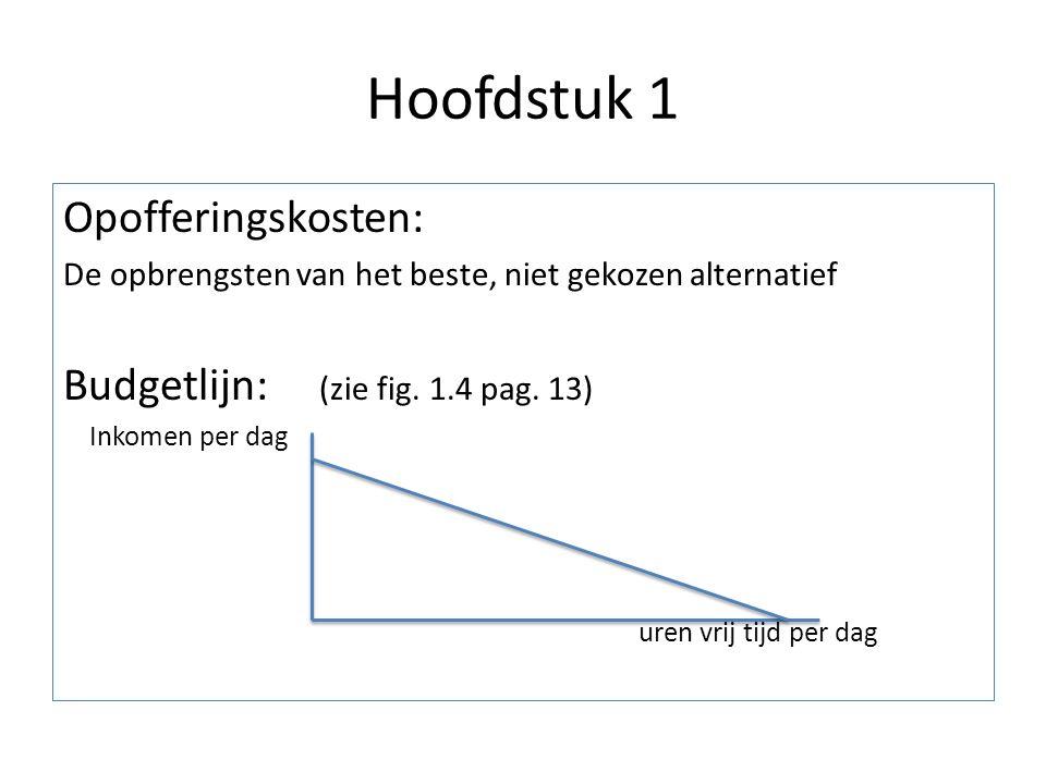Hoofdstuk 1 Opofferingskosten: De opbrengsten van het beste, niet gekozen alternatief Budgetlijn: (zie fig. 1.4 pag. 13) Inkomen per dag uren vrij tij