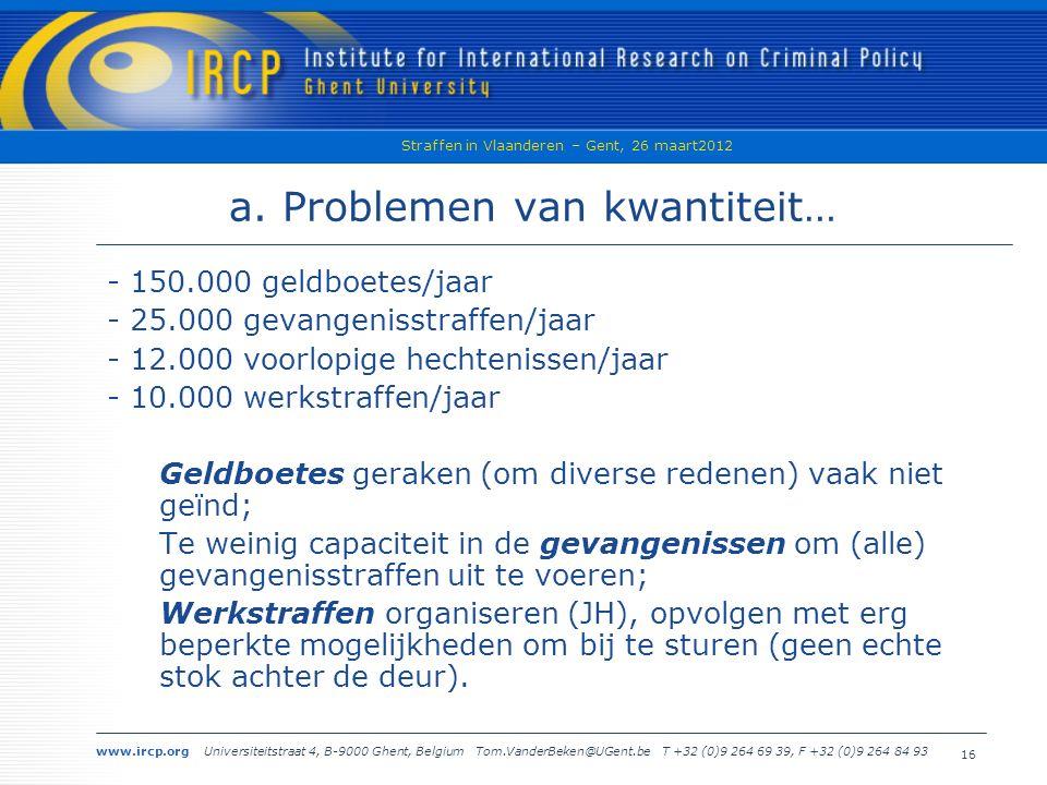 www.ircp.org Universiteitstraat 4, B-9000 Ghent, Belgium Tom.VanderBeken@UGent.be T +32 (0)9 264 69 39, F +32 (0)9 264 84 93 Straffen in Vlaanderen – Gent, 26 maart2012 16 a.