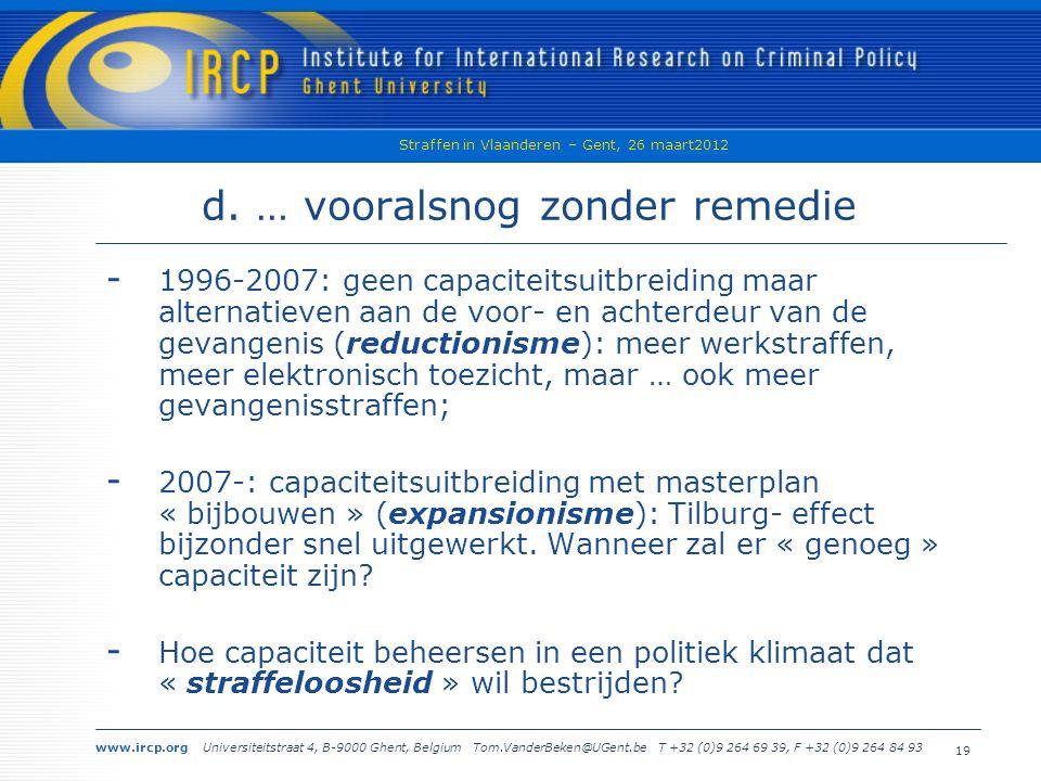 www.ircp.org Universiteitstraat 4, B-9000 Ghent, Belgium Tom.VanderBeken@UGent.be T +32 (0)9 264 69 39, F +32 (0)9 264 84 93 Straffen in Vlaanderen – Gent, 26 maart2012 19 d.