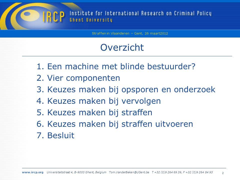 www.ircp.org Universiteitstraat 4, B-9000 Ghent, Belgium Tom.VanderBeken@UGent.be T +32 (0)9 264 69 39, F +32 (0)9 264 84 93 Straffen in Vlaanderen – Gent, 26 maart2012 23 h.