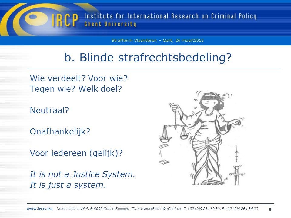 www.ircp.org Universiteitstraat 4, B-9000 Ghent, Belgium Tom.VanderBeken@UGent.be T +32 (0)9 264 69 39, F +32 (0)9 264 84 93 Straffen in Vlaanderen – Gent, 26 maart2012 5 b.
