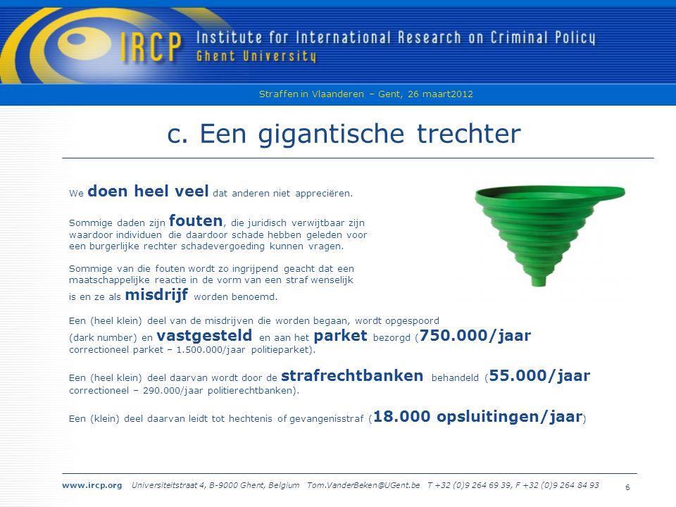 www.ircp.org Universiteitstraat 4, B-9000 Ghent, Belgium Tom.VanderBeken@UGent.be T +32 (0)9 264 69 39, F +32 (0)9 264 84 93 Straffen in Vlaanderen – Gent, 26 maart2012 7 2.