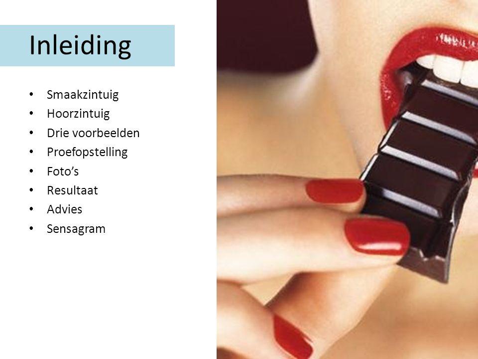 Inleiding Smaakzintuig Hoorzintuig Drie voorbeelden Proefopstelling Foto's Resultaat Advies Sensagram
