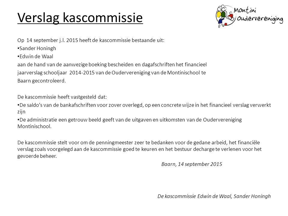 Verslag kascommissie Op 14 september j.l. 2015 heeft de kascommissie bestaande uit: Sander Honingh Edwin de Waal aan de hand van de aanwezige boeking