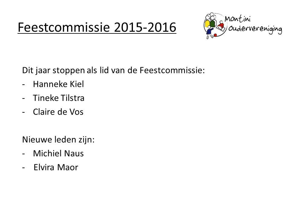 Feestcommissie 2015-2016 Dit jaar stoppen als lid van de Feestcommissie: -Hanneke Kiel -Tineke Tilstra -Claire de Vos Nieuwe leden zijn: -Michiel Naus