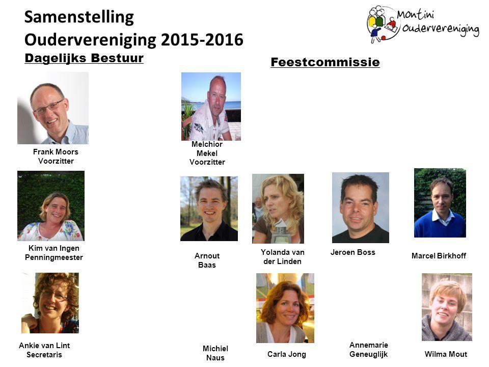 Samenstelling Oudervereniging 2015-2016 Frank Moors Voorzitter Kim van Ingen Penningmeester Dagelijks Bestuur Ankie van Lint Secretaris Carla Jong Yol