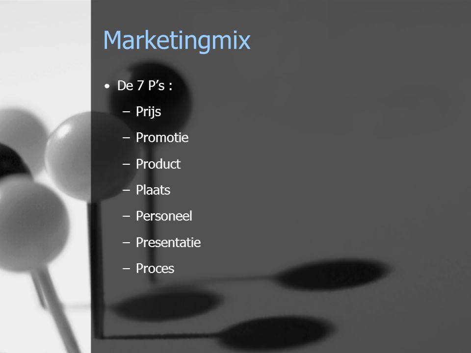 Marketingmix De 7 P's : –Prijs –Promotie –Product –Plaats –Personeel –Presentatie –Proces