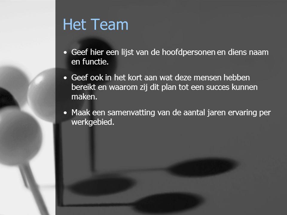 Het Team Geef hier een lijst van de hoofdpersonen en diens naam en functie.
