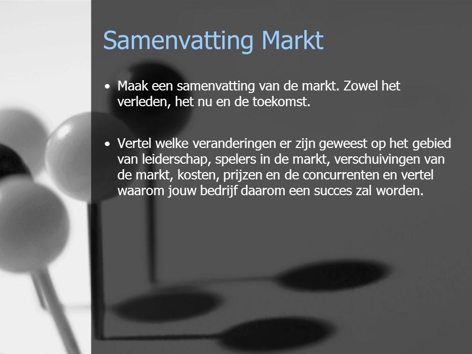 Samenvatting Markt Maak een samenvatting van de markt.