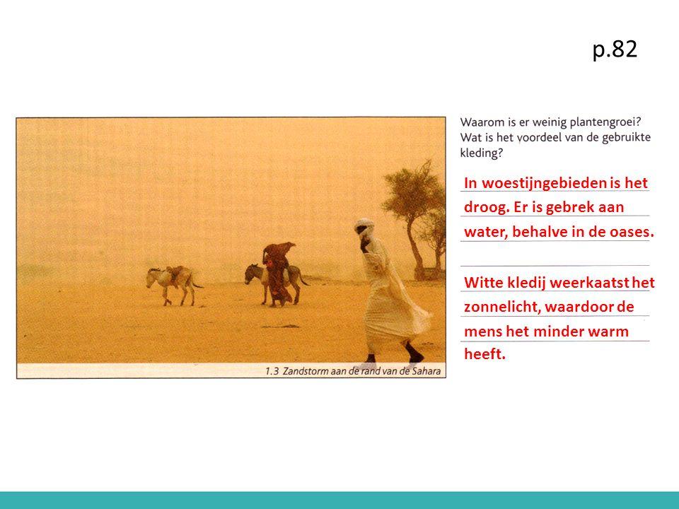 In woestijngebieden is het droog. Er is gebrek aan water, behalve in de oases. Witte kledij weerkaatst het zonnelicht, waardoor de mens het minder war