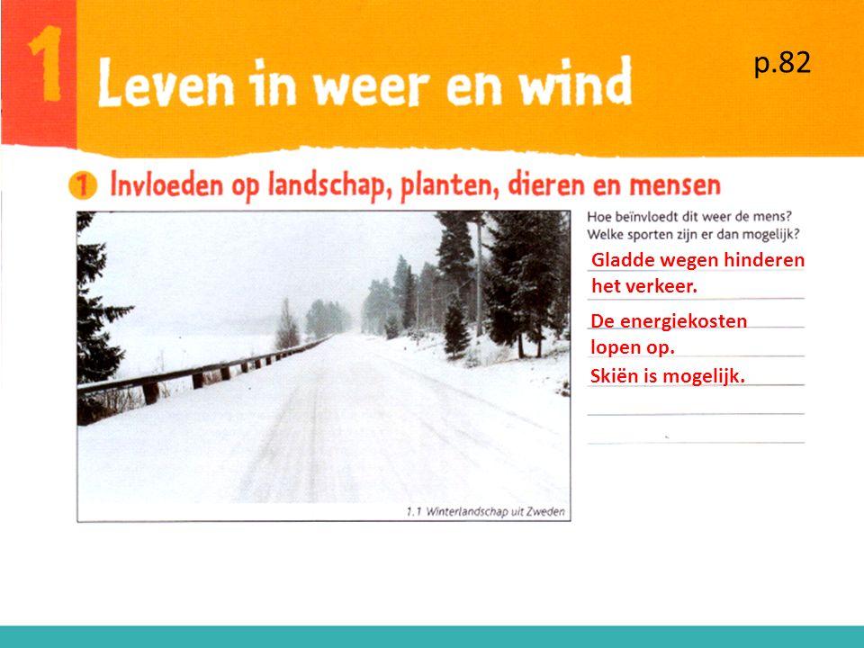p.82 Gladde wegen hinderen het verkeer. De energiekosten lopen op. Skiën is mogelijk.