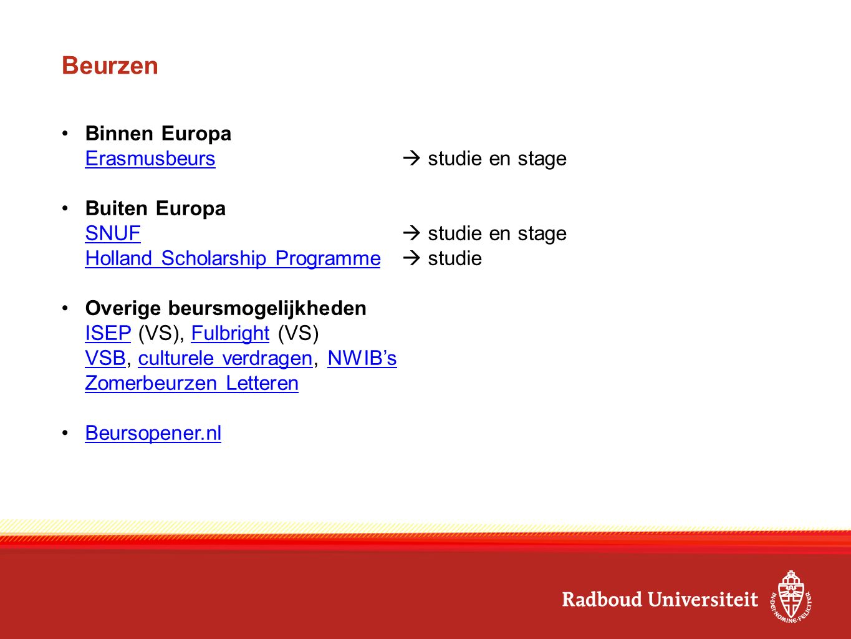 Beurzen Binnen Europa Erasmusbeurs Erasmusbeurs  studie en stage Buiten Europa SNUF SNUF  studie en stage Holland Scholarship Programme Holland Scholarship Programme  studie Overige beursmogelijkheden ISEPISEP (VS), Fulbright (VS)Fulbright VSBVSB, culturele verdragen, NWIB'sculturele verdragenNWIB's Zomerbeurzen Letteren Beursopener.nl