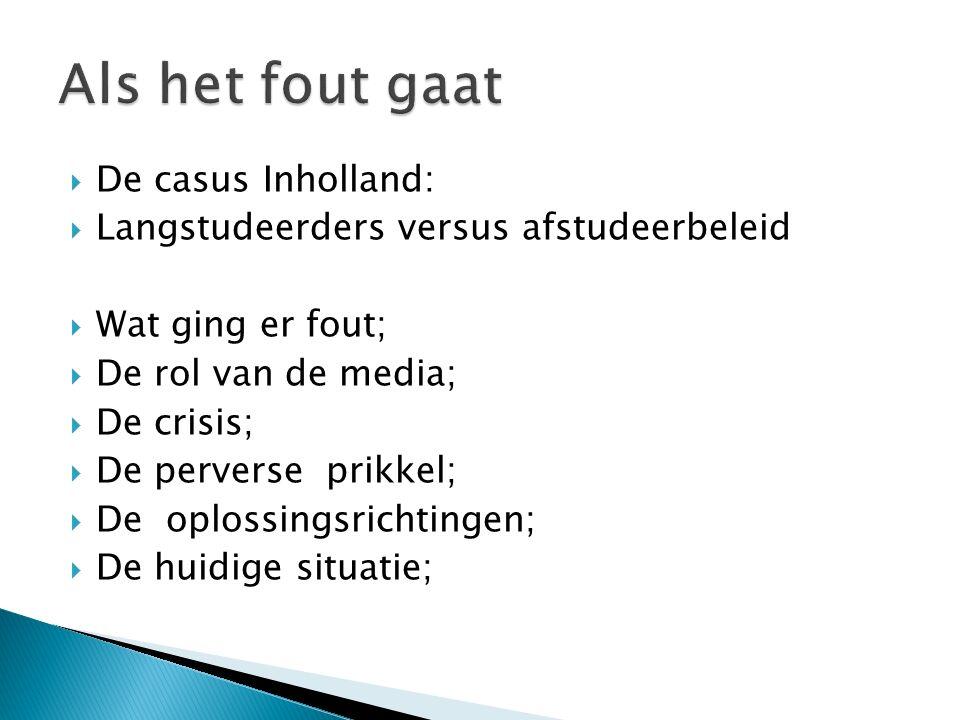  De casus Inholland:  Langstudeerders versus afstudeerbeleid  Wat ging er fout;  De rol van de media;  De crisis;  De perverse prikkel;  De opl