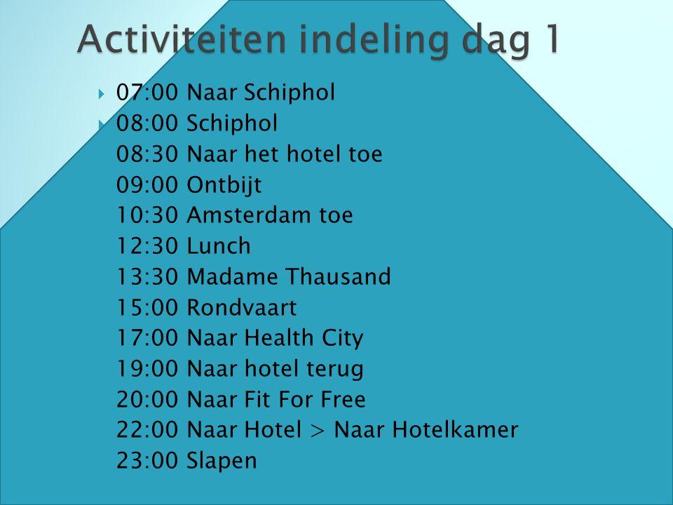  07:00 Naar Schiphol  08:00 Schiphol  08:30 Naar het hotel toe  09:00 Ontbijt  10:30 Amsterdam toe  12:30 Lunch  13:30 Madame Thausand  15:00 Rondvaart  17:00 Naar Health City  19:00 Naar hotel terug  20:00 Naar Fit For Free  22:00 Naar Hotel > Naar Hotelkamer  23:00 Slapen