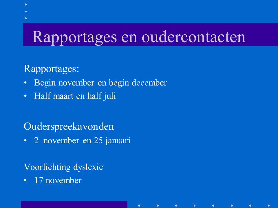 Rapportages en oudercontacten Rapportages: Begin november en begin december Half maart en half juli Ouderspreekavonden 2 november en 25 januari Voorli