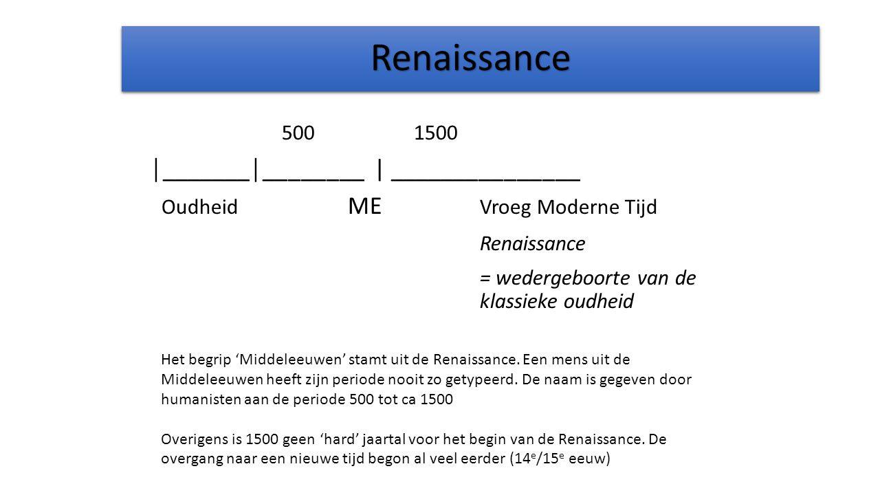 RenaissanceRenaissance 5001500 │_______│________ | _______________ Oudheid ME Vroeg Moderne Tijd Renaissance = wedergeboorte van de klassieke oudheid