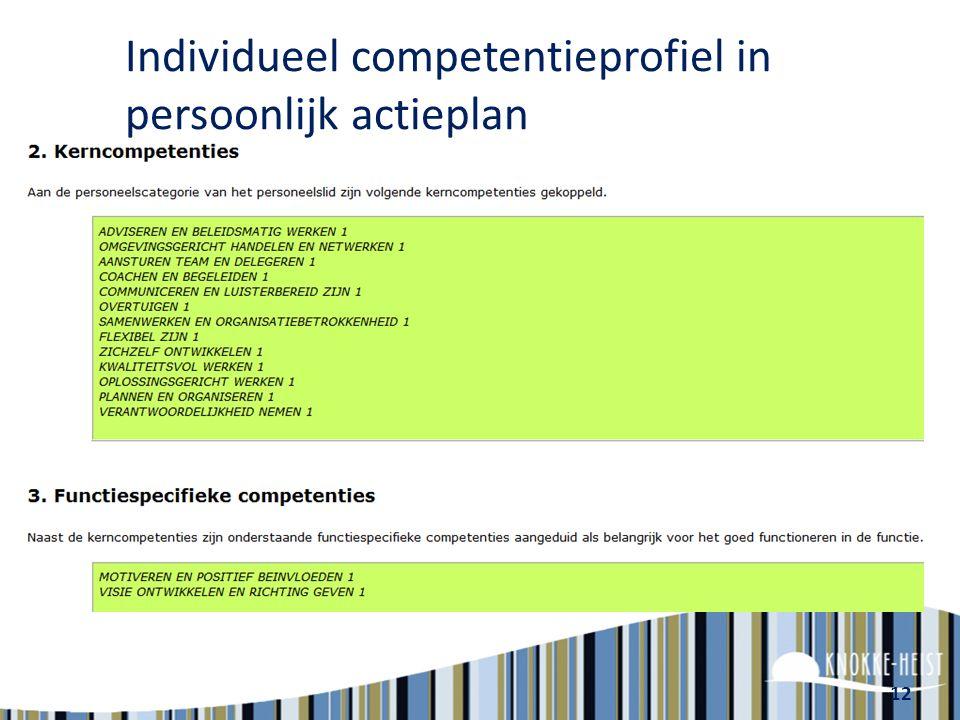 12 Individueel competentieprofiel in persoonlijk actieplan