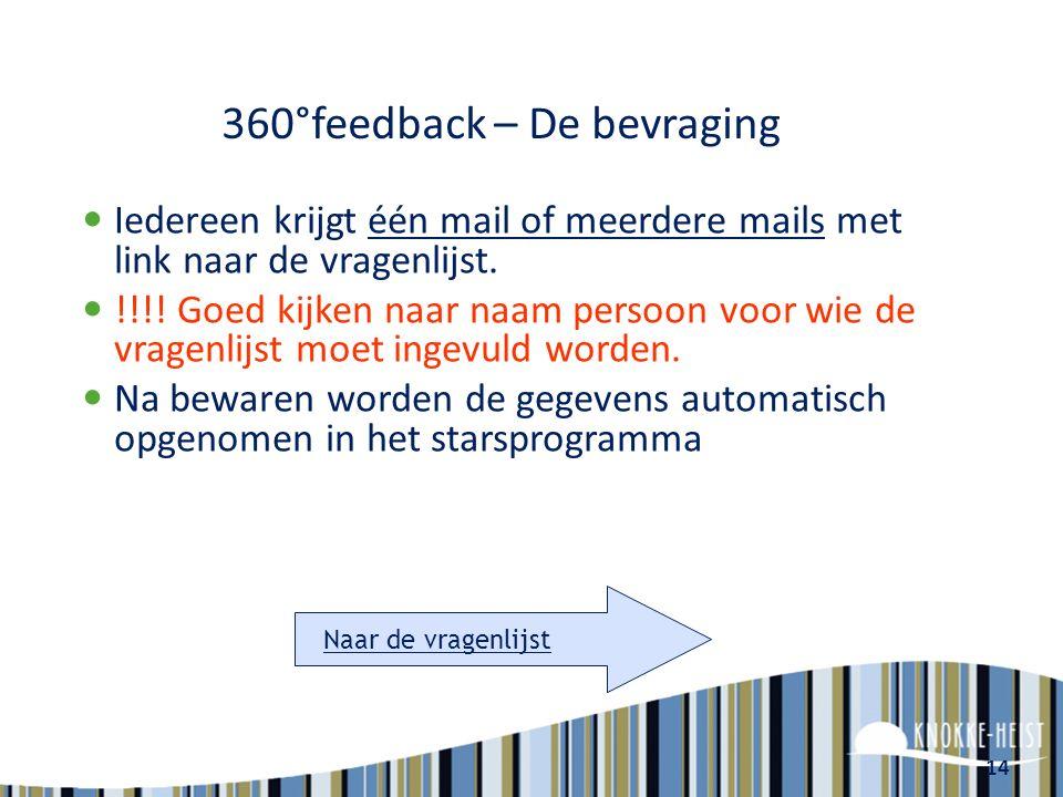 14 360°feedback – De bevraging Iedereen krijgt één mail of meerdere mails met link naar de vragenlijst.