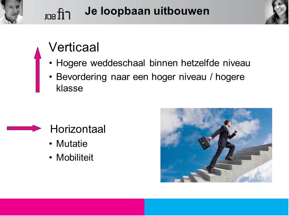 Verticaal Hogere weddeschaal binnen hetzelfde niveau Bevordering naar een hoger niveau / hogere klasse Horizontaal Mutatie Mobiliteit Je loopbaan uitb