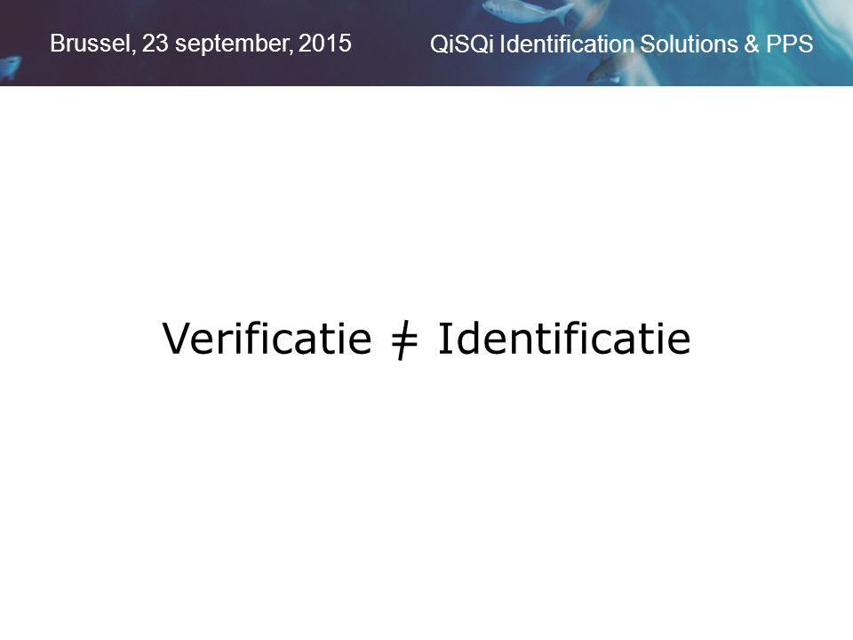Brussel, 23 september, 2015 QiSQi Identification Solutions & PPS Verificatie = Identificatie