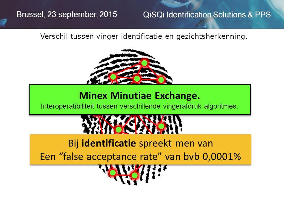 Brussel, 23 september, 2015 QiSQi Identification Solutions & PPS Verschil tussen vinger identificatie en gezichtsherkenning.