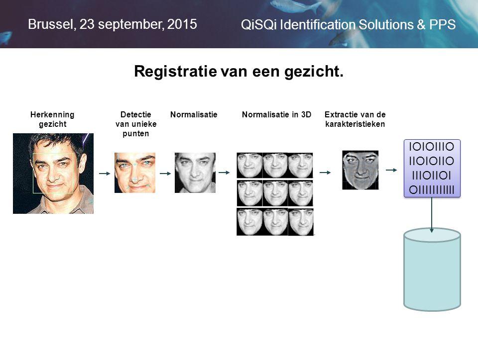 Brussel, 23 september, 2015 QiSQi Identification Solutions & PPS Herkenning gezicht Detectie van unieke punten NormalisatieNormalisatie in 3DExtractie van de karakteristieken IOIOIIIO IIOIOIIO IIIOIIOI OIIIIIIIIIII Registratie van een gezicht.