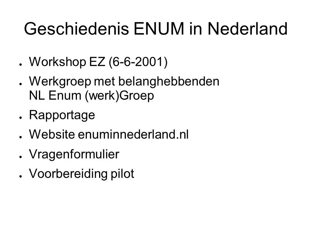 Geschiedenis ENUM in Nederland ● Workshop EZ (6-6-2001) ● Werkgroep met belanghebbenden NL Enum (werk)Groep ● Rapportage ● Website enuminnederland.nl