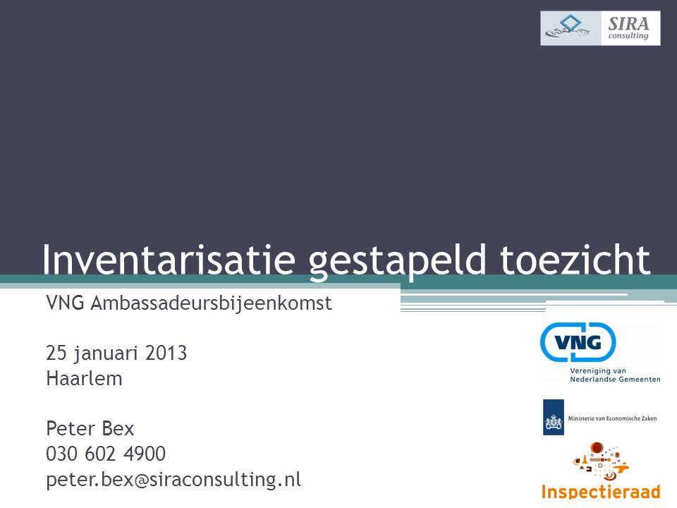 Inventarisatie gestapeld toezicht VNG Ambassadeursbijeenkomst 25 januari 2013 Haarlem Peter Bex 030 602 4900 peter.bex@siraconsulting.nl