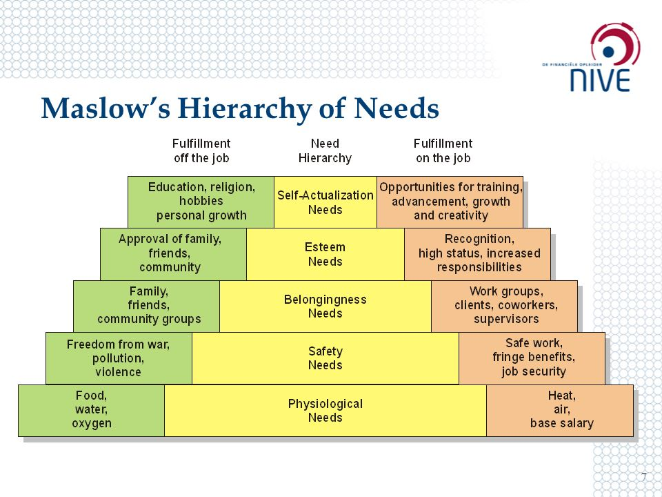 Maslow's Hierarchy of Needs 7